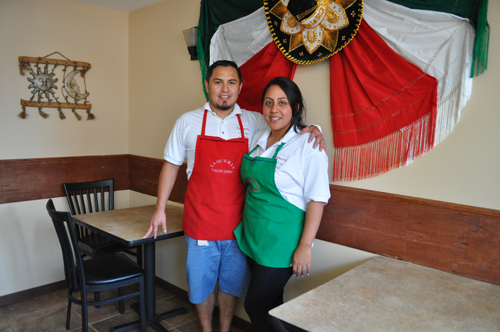 Edgar and Jasmin Diaz-Leal at their new Mexican restaurant, Taqueria Cielito Lindo, in downtown Riverhead Thursday evening. (Credit: Rachel Young)