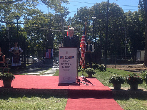 COURTESY PHOTO | Serbian President Tomislav Nikolić speaks on Monday at Wardenclyffe.