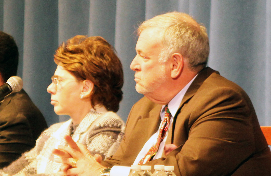 Chancellor Meryll Tisch (left) alongside Regent Roger Tilles at a Common Core forum in Eastport in November 2013. (Credit: Carrie Miller, file)