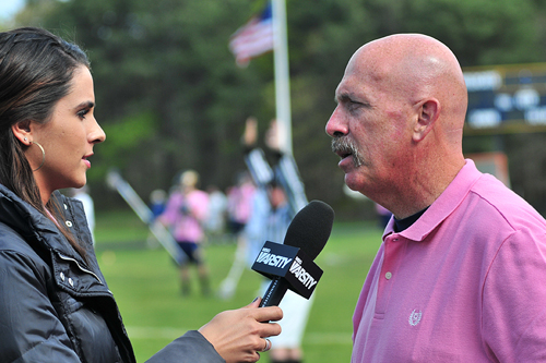 BILL LANDON FILE PHOTO  |  Former Shoreham-Wading River boys lacrosse coach Tom Rotanz speaks with a reporter in 2012.