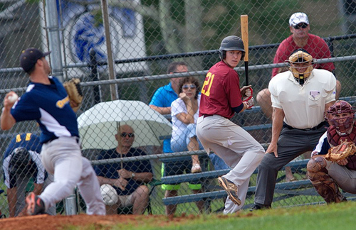 GARRET MEADE PHOTO | Jake Farr completed the season with a .310 batting average, tying him with Riverhead teammate Michael Brosseau for seventh in the league.