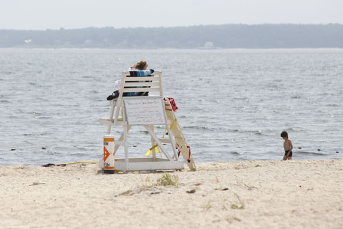 KATHARINE SCHROEDER PHOTO | A lifeguard at the town beach in South Jamesport.