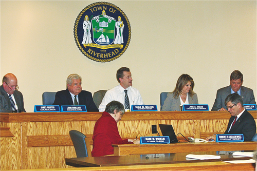 Riverhead Town Board members at an April meeting. (Credit: Barbaraellen Koch)