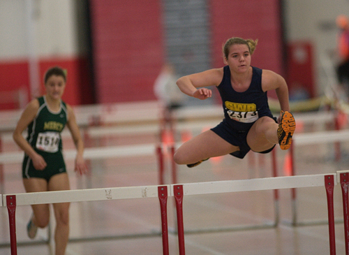 GARRET MEADE PHOTO  |  Shoreham senior Amanda Welischer competes in the 55-hurdles.