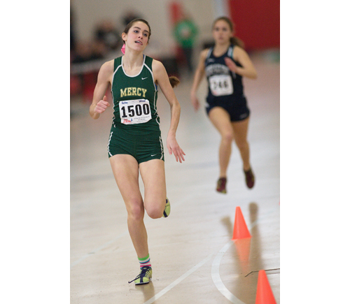 GARRET MEADE PHOTO  |  McGann-Mercy junior Delina Auciello was third in the 600.