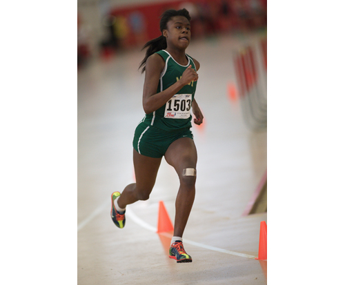 GARRET MEADE PHOTO  |  McGann-Mercy junior Danisha Carter competes in the 300.