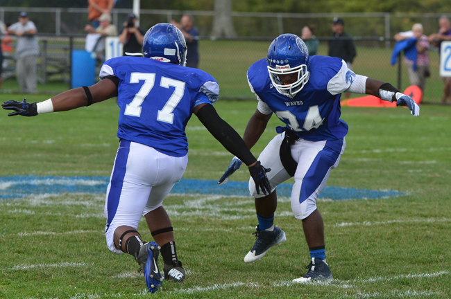 Troy Trent and Raheem Brown celebrate during the Blue Waves' win over Smithtown East Sept. 20. (Credit: Robert O'Rourk, file)