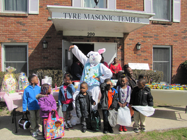 The Tyre Lodge in Riverside held its first Easter Egg hunt Saturday, and lodge Conductress Theodora Midgette said they hope to make it an annual event.