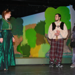 Ella Baldwin as Fiona, Roy Vazquez as Shrek and Cesar Flores as the Donkey.