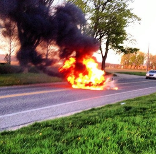 JAMESPORT FIRE DEPARTMENT COURTESY PHOTO | A motorcycle burst into flames Friday, the second incident in a busy week for the volunteers.