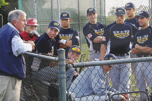 GARRET MEADE PHOTO Former major league pitcher Tommy John spoke to and joked with the North Fork Ospreys before Saturday night's game.