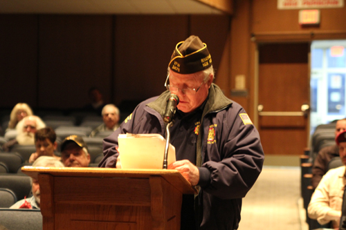 South Jamesport veteran John Newman addressing the Riverhead school board Tuesday night. (Credit: Jennifer Gustavson)