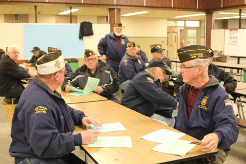Local veterans attended last month's Riverhead school board meeting to hear a presentation about a new tax exemption program for veterans. (Credit: Jennifer Gustavson, file)