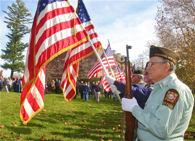 The Riverhead Combined Veterans Committee held its annual Veterans Day ceremony on Tuesday morning. (Credit: Barbaraellen Koch)