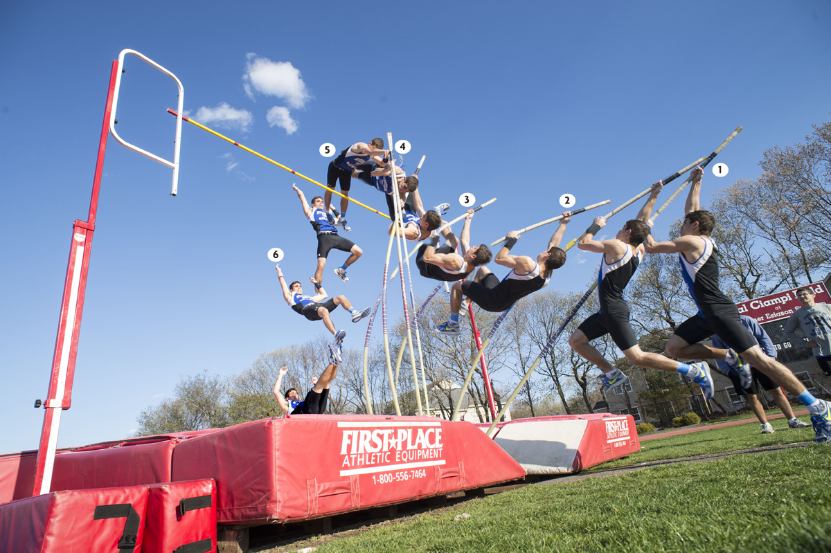 A step-by-step view of how Riverhead senior Charles Villa has mastered the pole vault. (Credit: Robert O'Rourk)