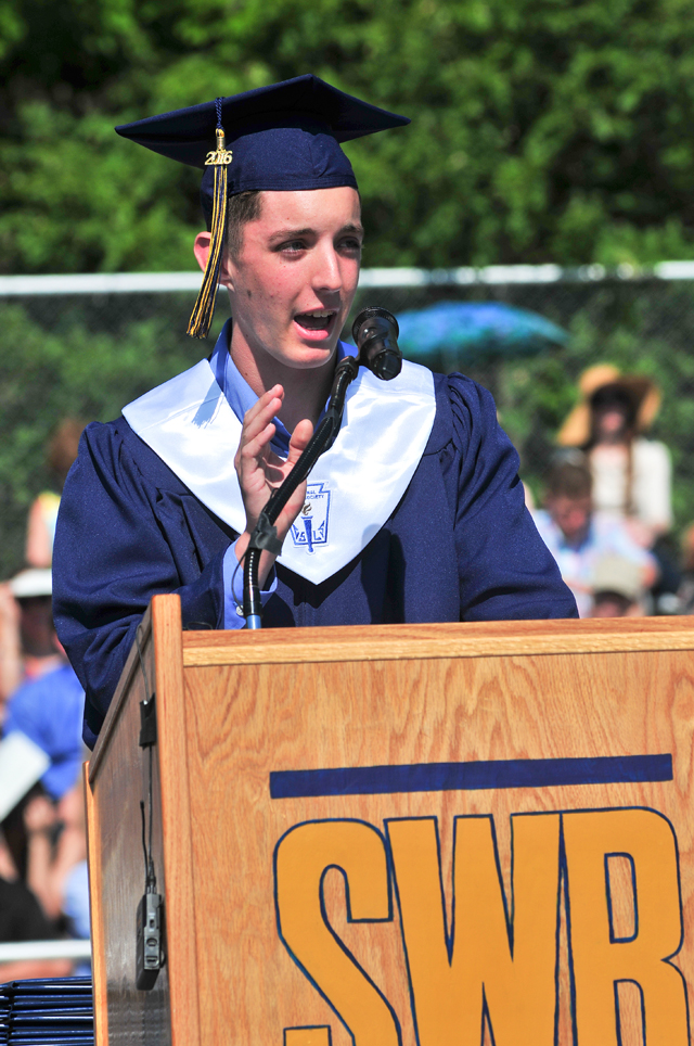 Salutatorian opening remarks by Nicholas S. Maritato. (Credit: Bill Landon)