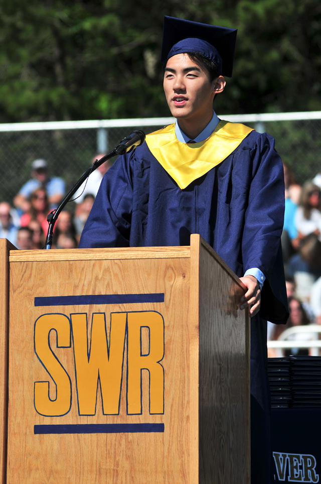 Words of farewell from Valedictorian Kelvin Ma. (Credit: Bill Landon)