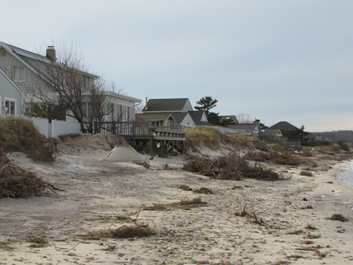 TIM GANNON FILE PHOTO | Depleted beach along Creek Road in Wading River.