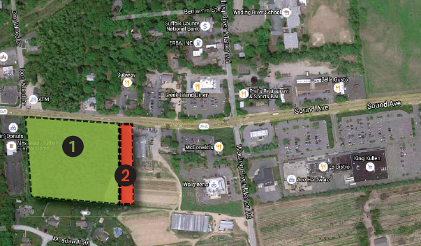 Map showing Venezia Square, left, and 6333 Realty Group developments on Route 25A in Wading River.
