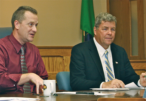 Supervisor Sean Walter and councilman George Gabrielsen. (Credit: Barbaraellen Koch, file)