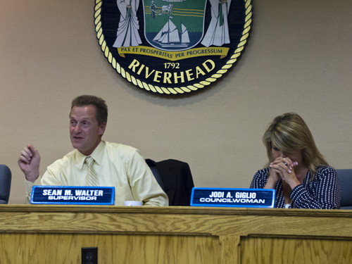 Supervisor Sean Walter and Councilwoman Jodi Giglio at Tuesday night's Town Board meeting. (Credit: Paul Squire)
