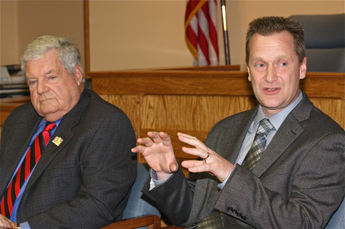 Councilman John Dunleavy (left) and Sean Walter at a previous work session. (Credit: Barbaraellen Koch, file)
