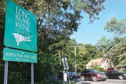 North Fork Wine Trail sign in Riverhead