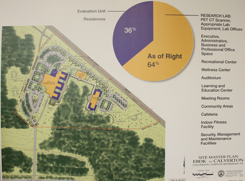 PAUL SQUIRE PHOTO | A concept map of the facility shows the layout of where patients would sleep on site. Developers said they'd need zoning relief for housing and evaluation, making up 36 percent of the site