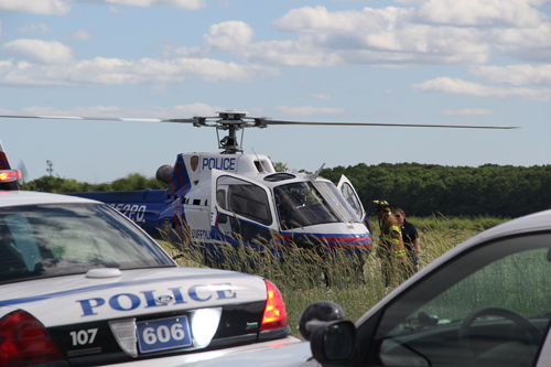 CARRIE MILLER PHOTO |  A man was airlifted to Stony Brook Medical Center Tuesday afternoon.