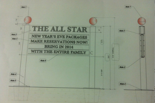TIM GANNON PHOTO | Designs for a sign that was approved for The All Star.