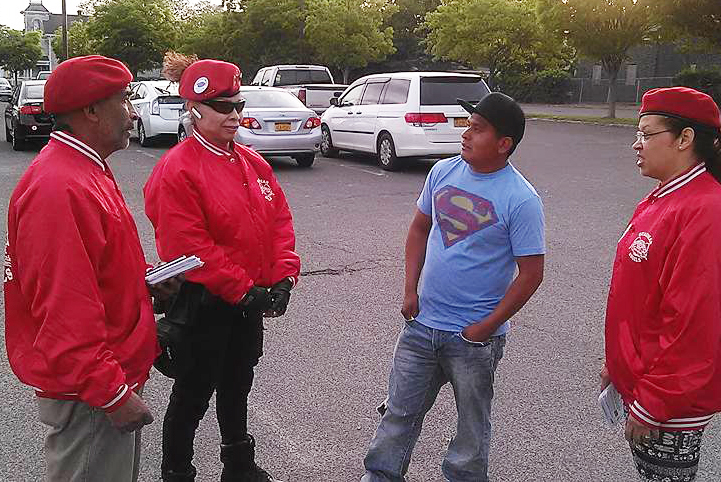 Guardian Angels members spent their patrol introducing themselves to the public and handing out informational pamphlets. (Credit: Guardian Angels)