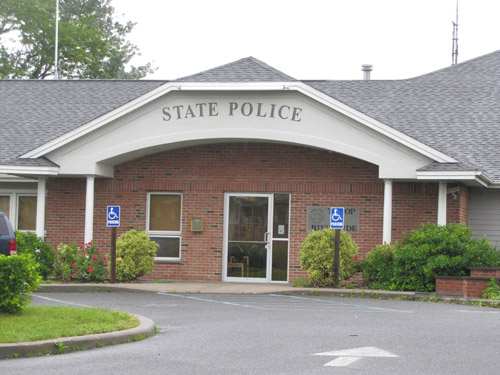 The state police barracks in Riverside. (Credit: News-Review)