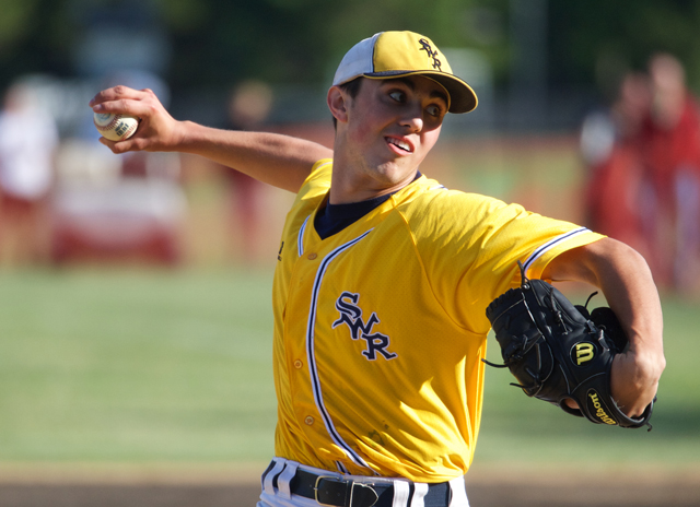 Shoreham-Wading River sophomore Brian Morrell pitched seven shutout innings in Game 3 against Bayport Wednesday. (Credit: Robert O'RourK)