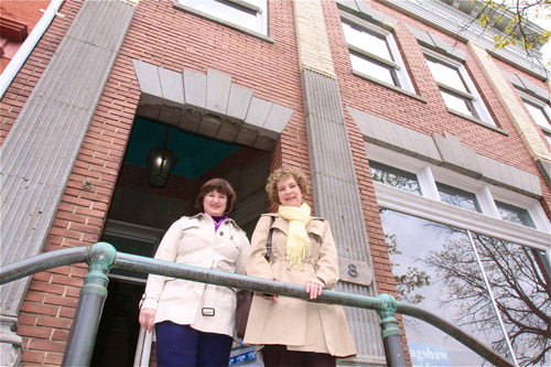 BARBARAELLEN KOCH FILE PHOTO | Architect Heather Brin of Port Jefferson, left, and accountant Wendy Yusin of Riverhead in April, outside what was set to become a bookstore and writing center.