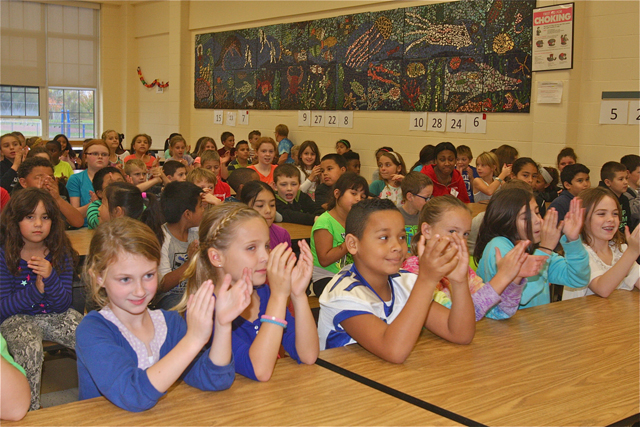 "Aquebogue Elementary School third and fourth graders in the cafeteria for the ""Buddy Bench"" assembly Friday afternoon. (Credit: Barbaraellen Koch)"