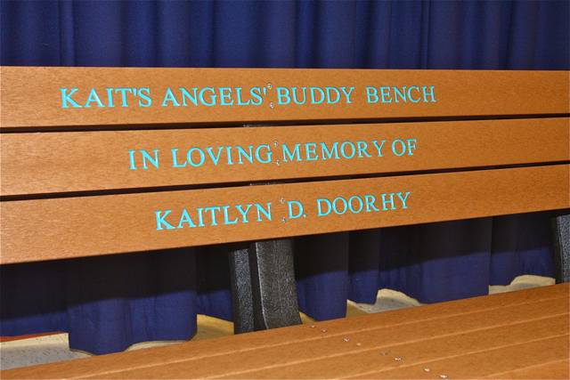 "The ""Buddy Bench"" in honor of Kaitlyn Doorhy. (Credit: Barbaraellen Koch)"