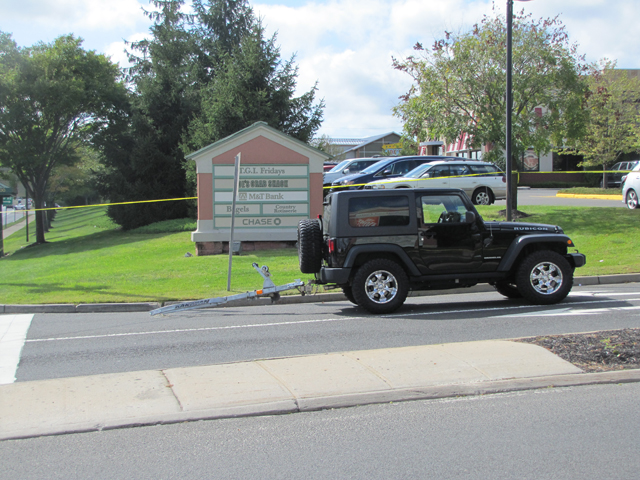 A Jeep that was towing a jet ski on Route 58. (Credit: Tim Gannon)