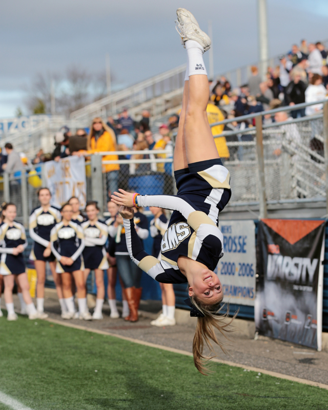 SWR cheerleader Chelsea Werner performs on the sideline of last Friday's football Long Island championship game at Hofstra University. (Credit: Daniel De Mato)
