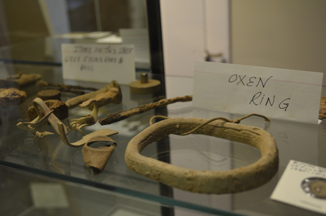 An oxen ring recently found on the church's property was likely used during the mid-1800s.