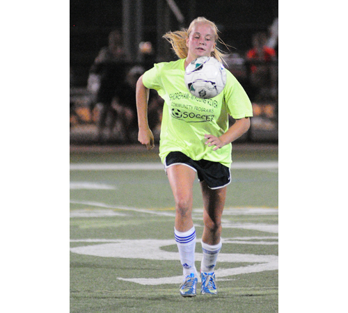 Shoreham-Wading River senior Courtney Clasen scored the game-winning goal Tuesday night against Miller Place. (Credit: Bill Landon)