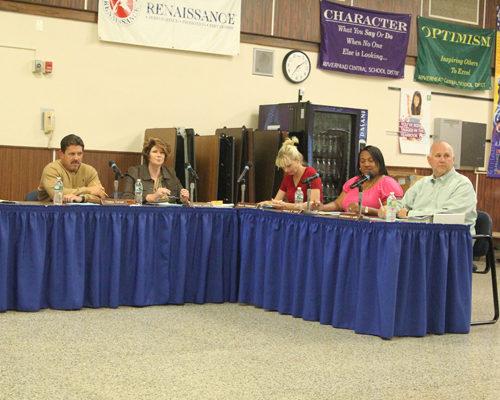JENNIFER GUSTAVSON PHOTO | Riverhead school board members at Tuesday night's meeting.