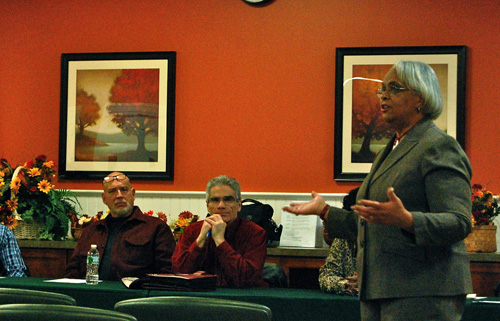JOSEPH PINCIARO PHOTO | Shirley Coverdale, right, speaks at a recent Flanders, Riverside, Northampton Community Association meeting.