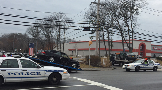 Two vehicles collided on Route 58 in Riverhead, resulting in three injuries Tuesday. (Credit: Cyndi Murray)
