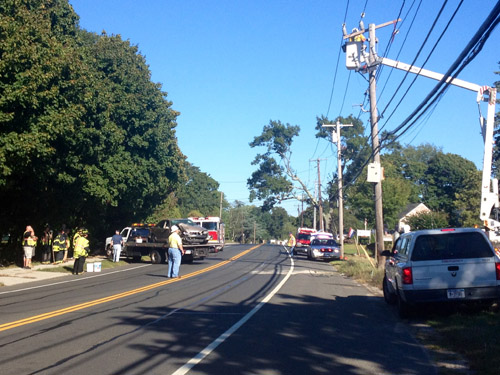 RACHEL YOUNG PHOTO | The site of a car crash Friday afternoon in Jamesport.