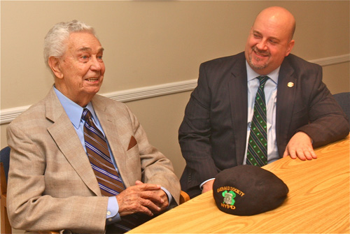 Jack and John Cuddy. Jack will serve as grand marshal in the first ever Jamesport St. Patrick's Day Parade. (Credit: Barbaraellen Koch)