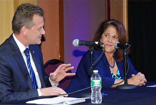 Sean Walter and Angela DeVito on the Suffolk Theater stage during a debate in 2013. (Credit: Barbaraellen Koch file photo)