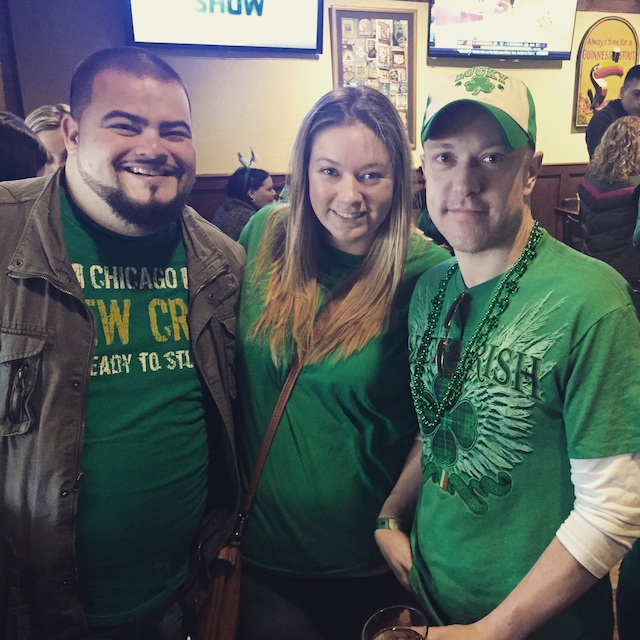 Everywhere you looked downtown Saturday, including at Diggers, green was the color of choice. (Credit: Cyndi Murray)