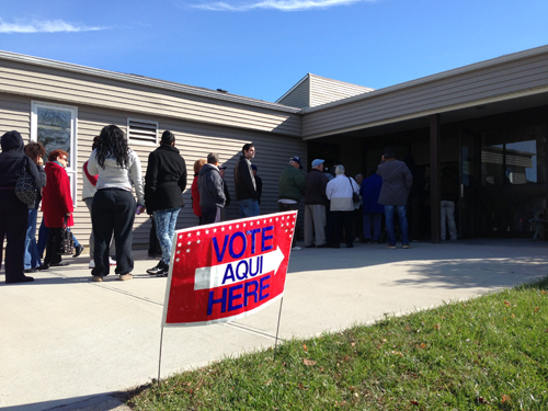 PAUL SQUIRE FILE PHOTO | Lines at the John Wesley Village polling place.