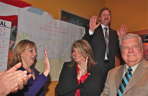 BARBARAELLEN KOCH PHOTO | Republican candidates Laverne Tennenberg, Jodi Giglio, Sean Walter and John Dunleavy celebrate victories on election night in downtown Riverhead.