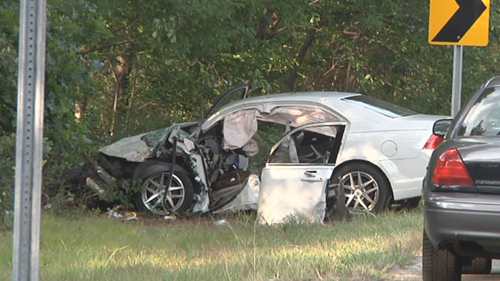 This car was involved in Tuesday's fatal crash near the Riverside jail. (Credit: Stringer News Service photos)
